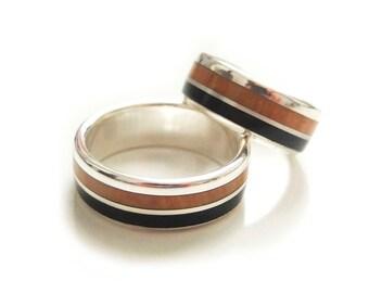 Bill d'argento, ebano e ginepro legno partnership / matrimonio anelli / anelli impegno / anello ebano