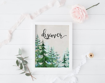 "PRINTABLE Art ""Discover"" Typography Art Print Typography Poster Woodland Trees Pine Trees Art Print Home Decor Apartment Decor"