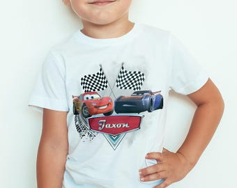 LightningMcQueen, jackson storm personalised Kids  T-Shirt, Childrens Toddlers T Shirt Top.