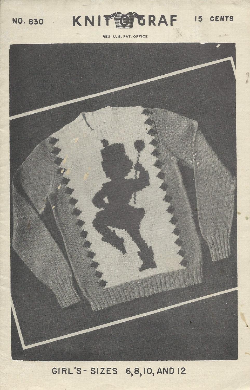 1949 Knitting Pattern - Knit O Graf Vintage Sweater Graph Pattern ...