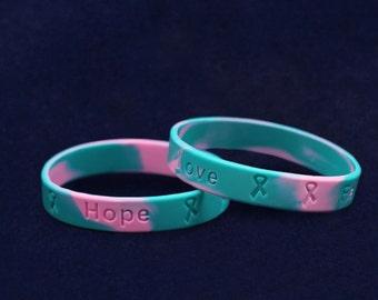 50 Pink & Teal Silicone Bracelets (50 Bracelets) (SILB-24)