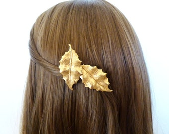Gold Leaf Hair Clip Wedding Barrette Bride Bridal Bridesmaid Botanical Garden Nature Rustic Woodland Accessories Unique Womens Gift For Her