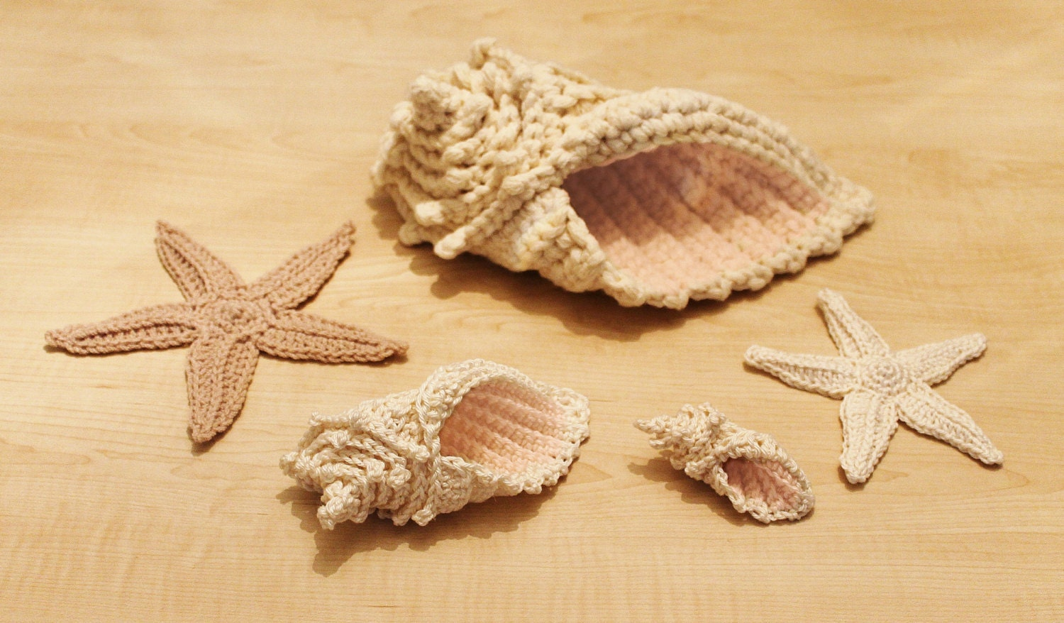 Crochet Conch Shell and Starfish Sea Shell Pattern INSTANT