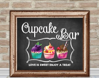 Cupcake Bar Sign - Cupcake Party Signs - Wall Art - Chalkboard - Printable - Instant download