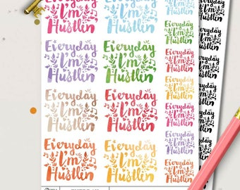 Everday I'm Hustlin' Watercolour Planner Stickers |  Erin Condren | Life Planner | Kikki K | Filofax | Floral | Inspirational | Quotes