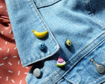 Fruit pin set - Miniature food - watermelon pin - pins for backpacks - set of 4 pins - quirky pins - foodie gift idea