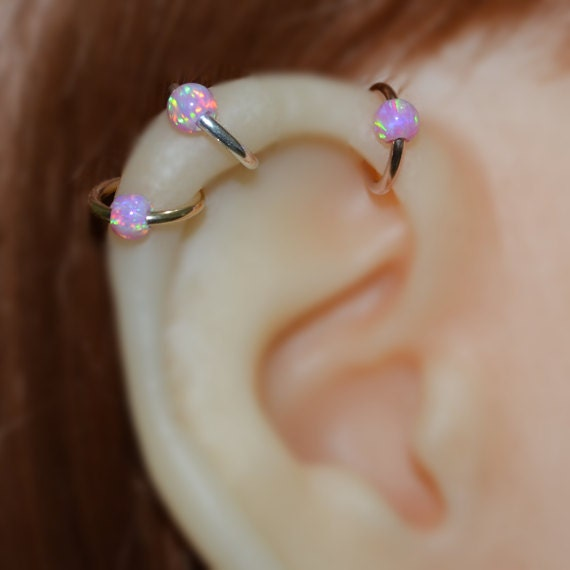 Nose Ring - Silver Nose Hoop - 4mm Opal Helix Earring - Rook Piercing Jewelry - Septum Ring - Tragus Hoop - Cartilage Piercing - 16g