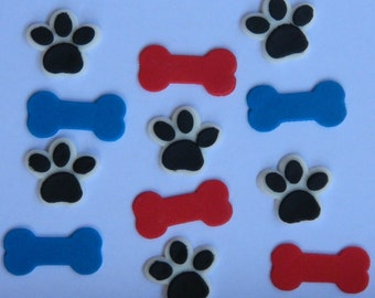 24 edible PAW PRINT & BONES paw patrol themed new puppy dog cupcake icing topper cookie cake topper decoration birthday skye