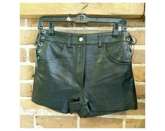 Vintage high waist black leather shorts- adjustable waist leather hot pants NWT