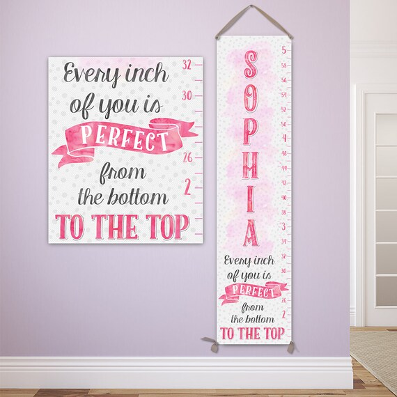 Girl Growth Chart - Personalized Canvas Growth Chart, Personalized Baby Gift Girl, Growth Chart Girl - GC8000P