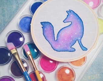 Galaxy Fox Hoop Art, Galaxy Embroidery, Celestial Nursery Wall Hanging, Watercolor Nebula Art