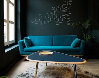Science art - Chemisrty - Oxytocin molecule vinyl wall decal geekery science school decor