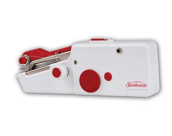 Portable Cordless Handheld Sewing Machine; Sunbeam Handheld Sewing Machine Red & White