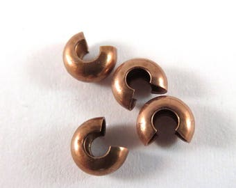 50 - Copper Crimp Bead Cover Antique Plated Brass 4mm Closed - 50 pc - 5579