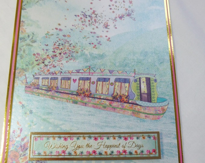 Canal boat, Birthday Card, Greeting Card, Narrow Boat, Canal Barge, Flowers, Female, Any Age, Green and Gold
