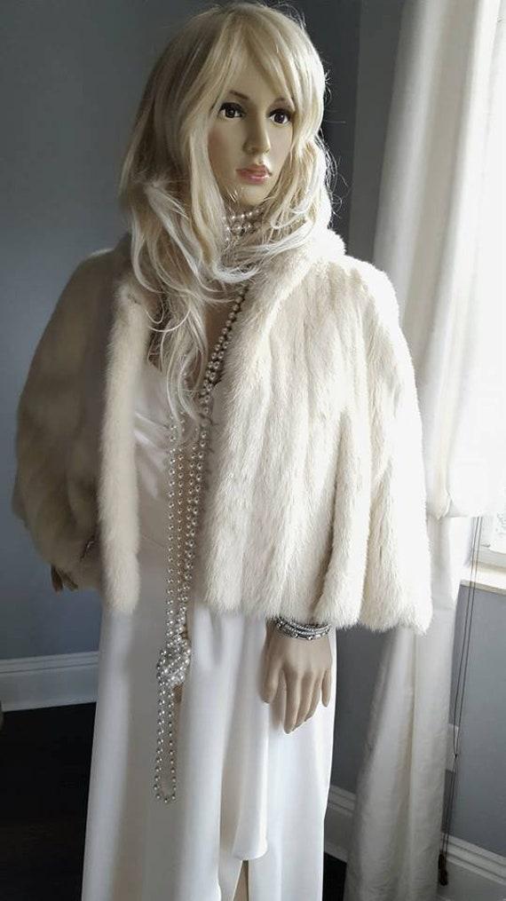 Fur Cape Fur Coat Bridal Fur Vintage Mink Capelet Bolero Bridal Real Vintage Stole Fur Wedding Wrap Luxury Ivory Mink Fur Shawl nqITEC