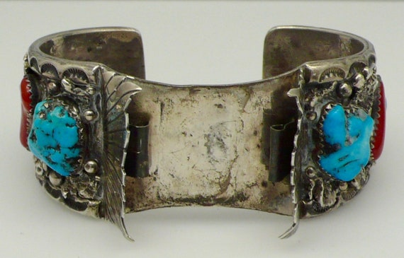 Vintage Native American Navajo Sterling Silver Turquoise, Coral Wristwatch Cuff Ready For Your Watch