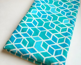 Sale Clearance Aqua Blue Teal Geometric Minky Baby Blanket Baby Boy or Gender Neutral Shower Gift Nursery Bedding Ready to Ship
