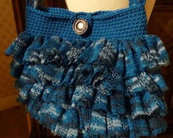 crochet blue filigree ruffles pleated shoulder bag