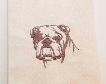 English Bulldog Tea Towel | Dog Kitchen Towel | Dog Lover Gift | Embroidered Tea Towel | Personalized Dish Towel | Embroidered Kitchen Towel