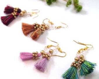 christmas earrings, tassel earrings, gift idea for her, green earrings, pearl earrings, christmas gift jewelry,