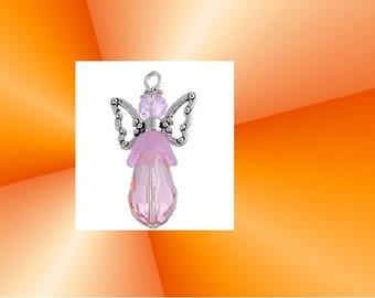 Baptism gift Guardian Angel Wings charm pendant handmade Rose 3.2x1.8cm