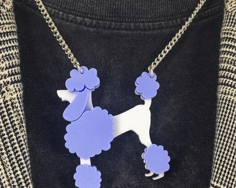 Poodle necklace, dog necklace, perspex necklace, perspex jewellery, perspex jewelry, retro necklace, 50's necklace, fun jewellery