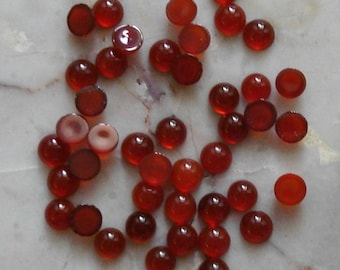 4 pcs Carnelian High Dome cabochons 3mm round cb019