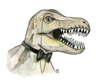 Dapper Dino - 8x10 Art Print - Fantastical T-Rex With Bowtie - Art by Marcia Furman