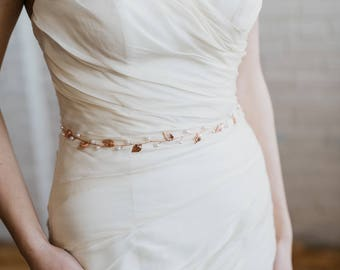 Rose Gold Leaf Bridal Sash | Blush Bridal Belt | Boho Wedding Dress Sash | Thin Wedding Belt | Skinny Rose Gold Leaf Belt | Lucy Sash
