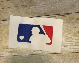 MLB Baseball With Heart Embroidery Design, MLB Applique