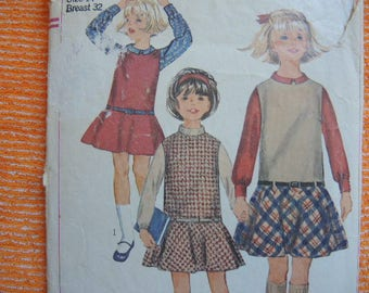 vintage 1960s Simplicity sewing pattern 6661 girls jumper and blouse size 14