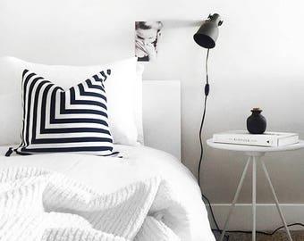 Black and White L Striped Pillowcase