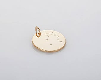 Libra - Zodiac coin brass pendants , coin pendants, Jewelry making Polished Gold  -Plated- 1pcs [P0452-PG]