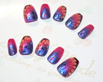 Japanese kawaii nail art false nail, fake nails,Butterfly, pink, purple, glitter, party, cosplay, lolita accessory, fairykei