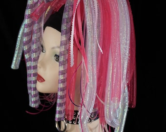 Punky Pink Cyberlox hair falls clubbing rave cyber goth gogo dance club wear edc raver white purple -Ready to Ship- Sisters of the Moon