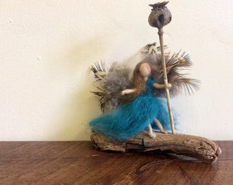Needle Felted Figure - Feathers - Fairy - Driftwood - Handcrafted - Mother's Day - Gift Ideas!