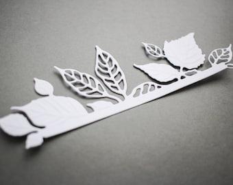 Leaves border diecut - floral wedding invitation decor - Birthday card making supplies - paper embellishments scrapbooking album leaf decor
