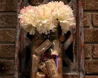 Mason jar wine cork decor