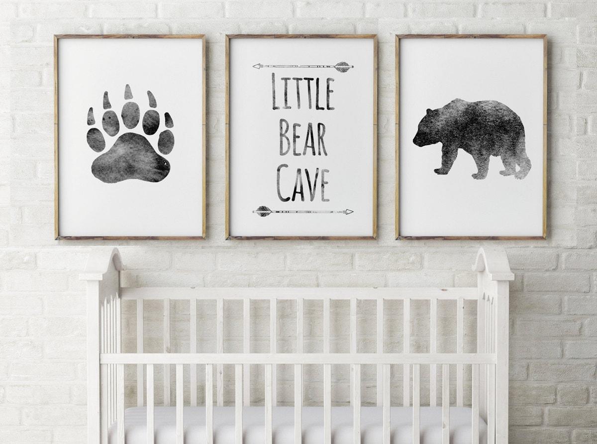 Baby Boy Nursery Decor Bear Cave Grey Little BearBear