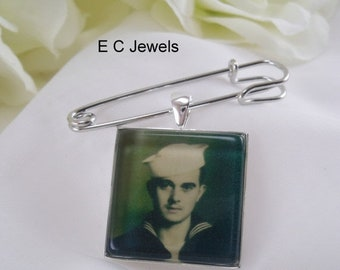 SHOP SALE Grooms Boutonniere Custom Photo Charm