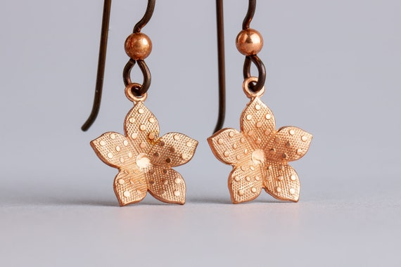 Polkadot Copper Flower Drop Earrings with Hypoallergenic Niobium Ear Wires