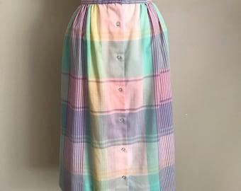 70s 80s Pastel Plaid Button Up Skirt