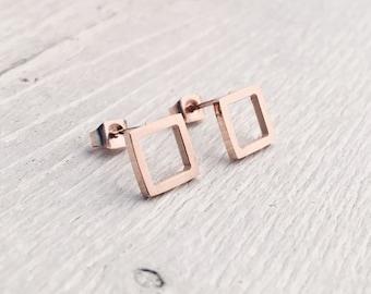 Minimalist Earrings Rose Gold | Square Stud Earrings Small Ear Studs