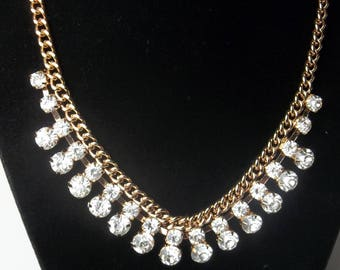 Brilliant Crystal Clear Rhinestones Thick Gold Chain 1980's High Fashion Hollywood Glamour Statement Costume Jewelry Necklace Gift For Her