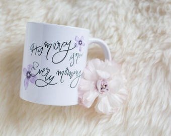 Hand Lettered Mug with Inspirational Bible Verse Quote
