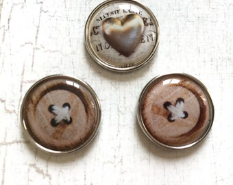 "Brad pattern ""wood button"" and heart 20mm cabochon"