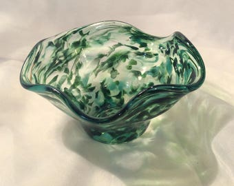 Hand Blown Glass Flutter Bowl in Shades of Green.  Blown Glass Art Bowl.  Footed Fall Colors Glass Bowl.