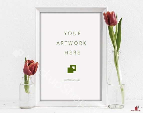 Red TULIPS MOCKUP FRAME 10x14 / spring flowers /