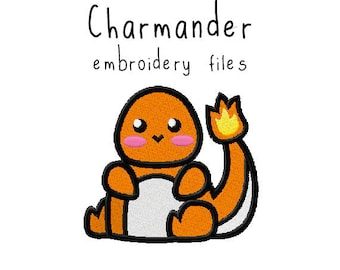 Pokemon Charmander EMBROIDERY MACHINE FILES pattern design hus jef pes dst all formats Instant Download digital applique kawaii cute